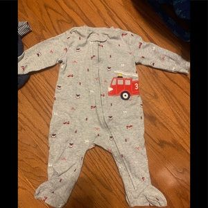 Firetruck printed footed pajamas